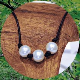 Love Leather Wraps- Pearl Necklace/Choker